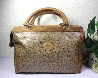 Vintage CELINE Paris Coated Canvas Horse Carriege Speedy Doctor Handbag Bag  Italy 05cd5aafd6e82