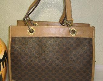 Vintage CELINE Coated Canvas   Leather Small Tote Shoulder Bag Italy 0d2ada2dea5da