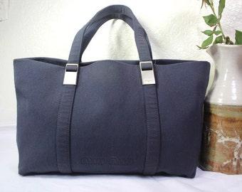 7df0fc22edf4 Vintage MIU MIU Grey Canvas Small Tote Hand Bag Beach Bag Italy