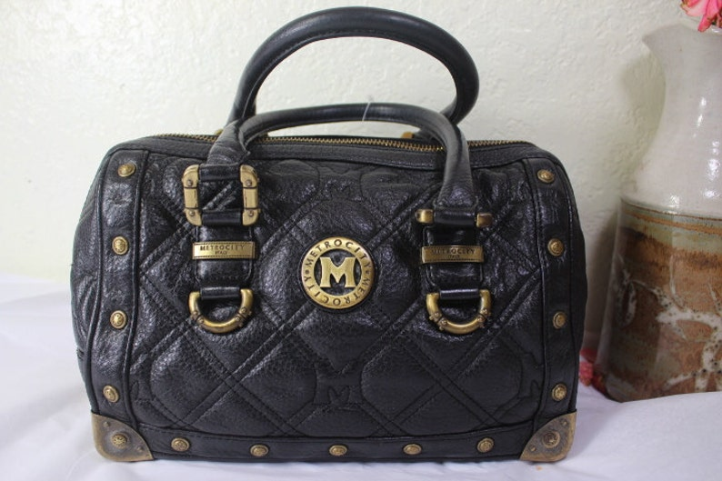 Metrocity Braccialini METRO CITY Black Studded Leather Speedy Doctor Dr. Bag  Italy 61980203d2b37