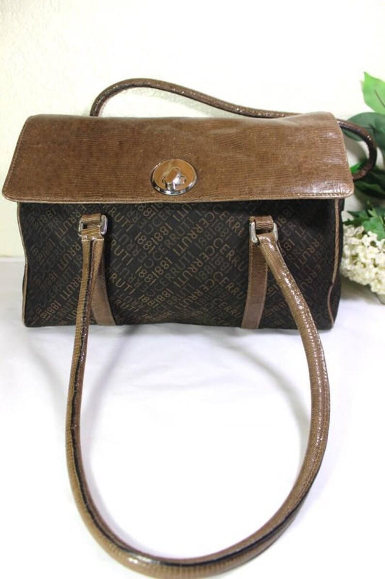 c2548ec8855 Vintage CERRUTI 1881 Canvas Leather Duffle Doctor Travel Bag | Etsy