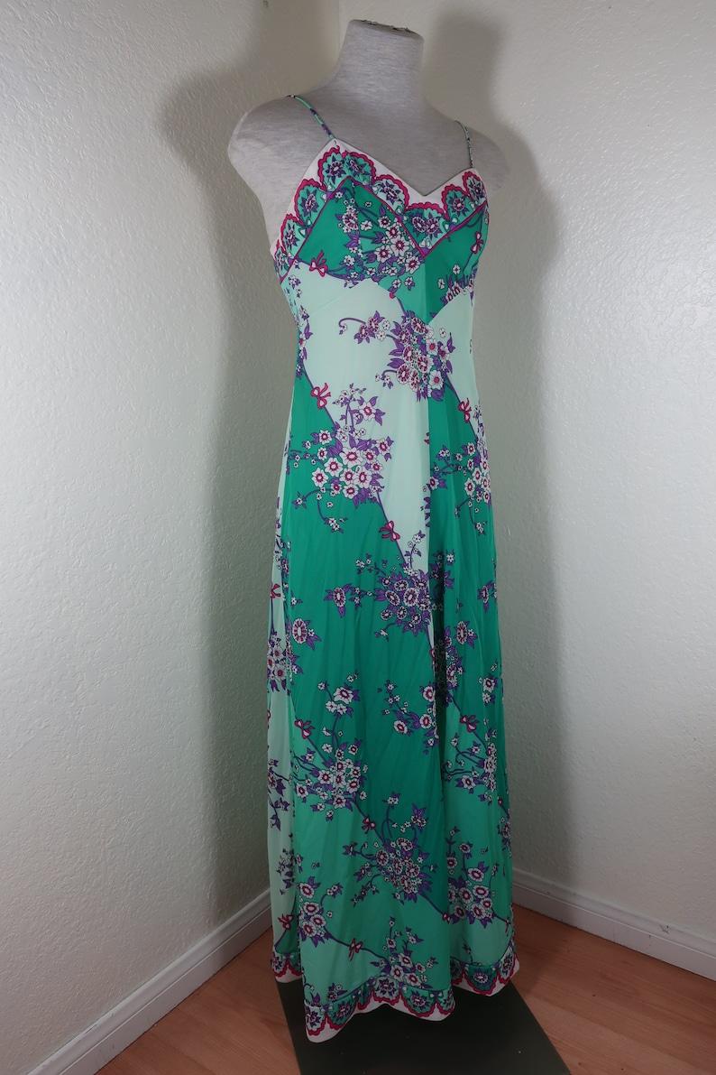 Vintage EMILIO PUCCI Green Blue Spaghetti Strap Woolite Sleep Gown Dress S Small 4 5 6