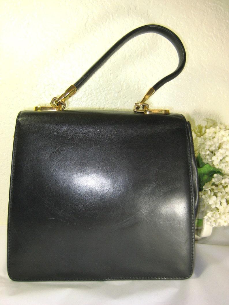 beab9b1f135 Vintage VALENTINO ORLANDI Black Leather Kelly Hand Bag Italy | Etsy