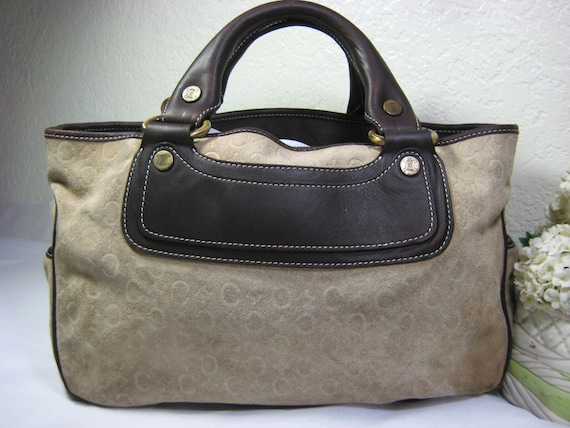 Vintage CELINE Boogie Suede Tote Hand Bag Italy  d6fabbe470308