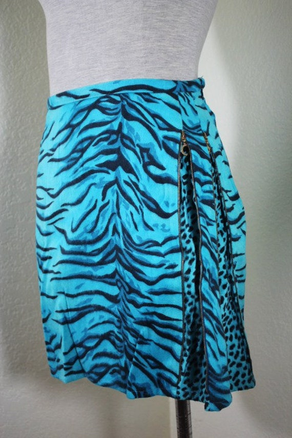 Vintage VERSACE Jeans Couture Zebra Print Blue and