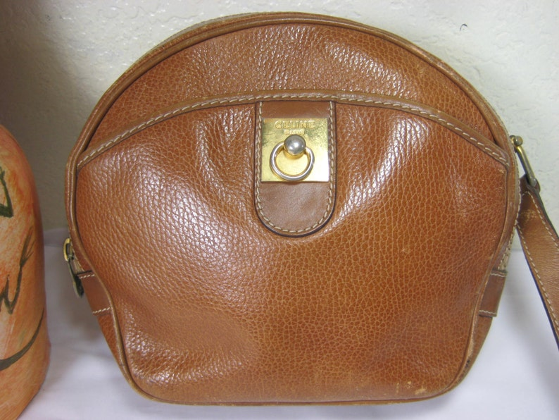 e532f9e3fee6 Vintage Celine Paris Brown Leather Sling Bag Italy
