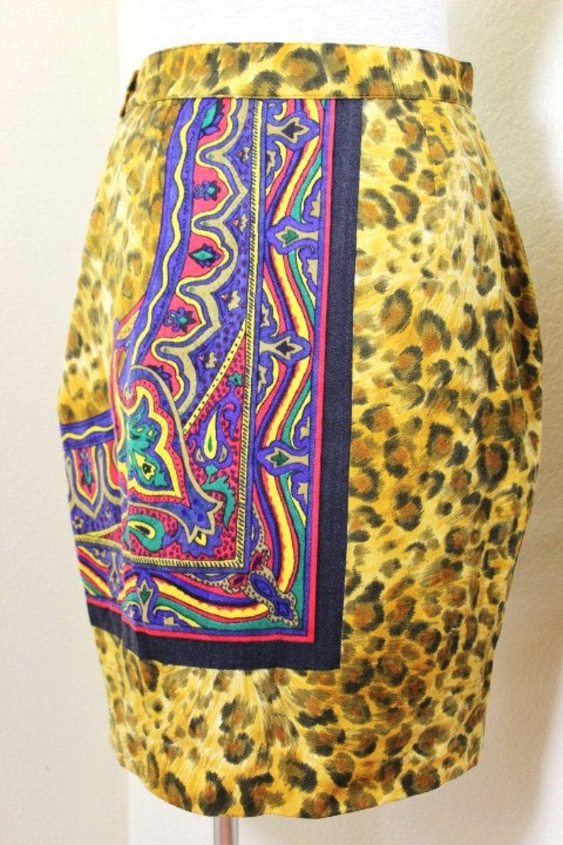 Vintage VERSACE Versus Yellow Wool Printed Mini Skirt Sz Small 30 44 5 6 7
