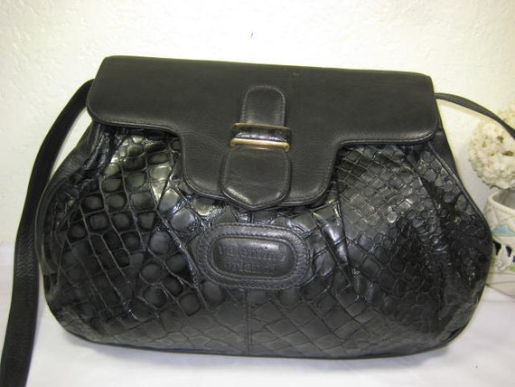b20dd992299 Vintage VALENTINO ORLANDI Black Leather Medium Shoulder Bag | Etsy