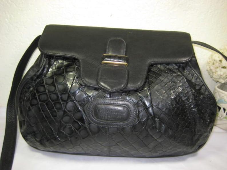 Vintage VALENTINO ORLANDI Black Leather Medium Shoulder Bag  b8ebdf21753