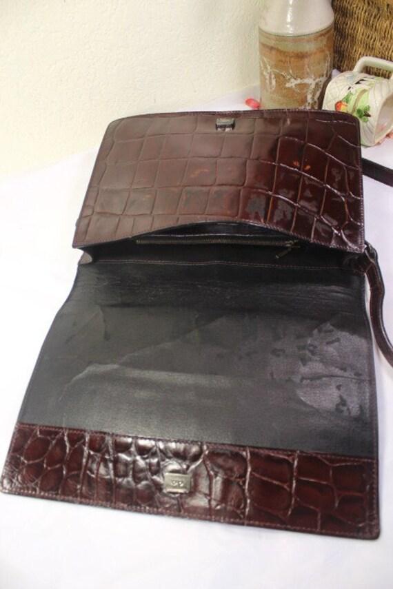 730f0d66e00e Vintage Gaultier marron Imitation croco Crocodile estampillé   Etsy