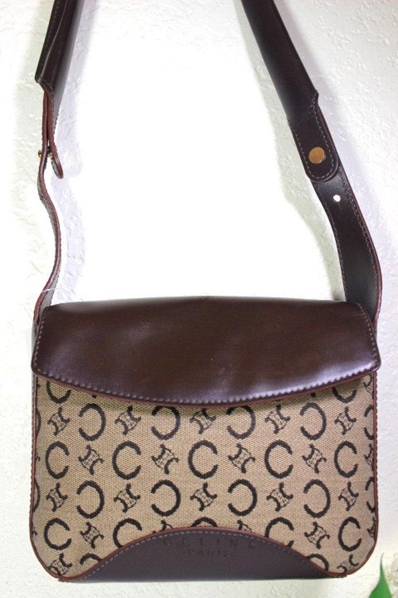 5fdbbb730a CELINE vintage marron toile & cuir petit sac à bandoulière | Etsy