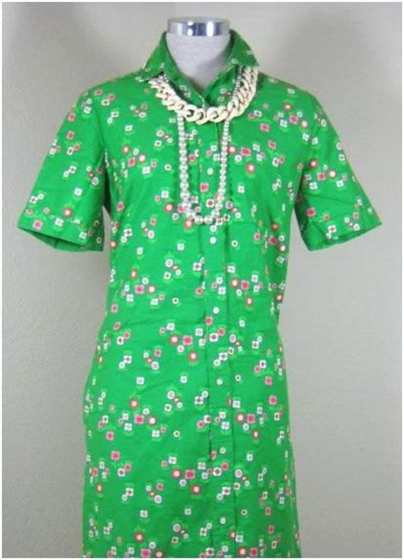Vintage Hawaiian Malia Honolulu Green Floral Dress