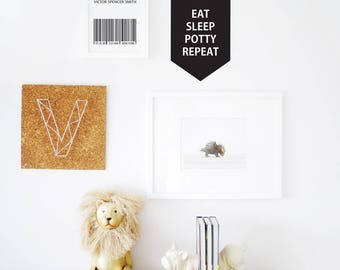 Banner Wall Decal, Eat Sleep Potty Sign, Black Wall Decal Custom Color Banner Quotes Monochrome Decor. Eat Sleep Repeat Banner Wall Decal