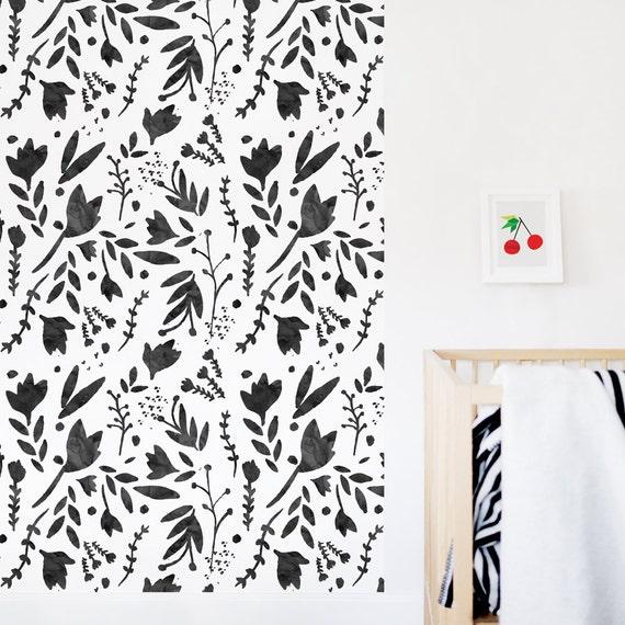 Floral Fond Decran Noir Blanc Papier Peint Aquarelle Fond Etsy