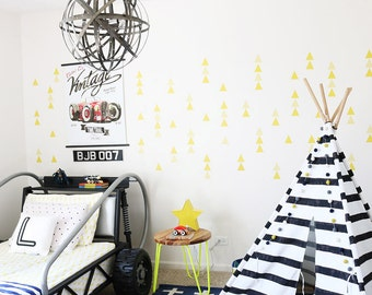 Yellow Triangles Wall Decal Kids Wall Stickers Baby Nursery Decor Yellow Boys Room Removable Wall Decal. Little Peaks Fabric Wall Decal