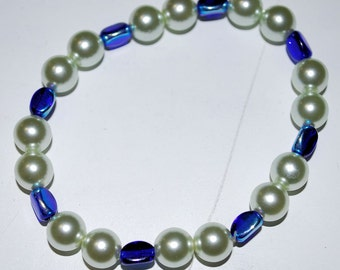Blue Green Pearls Waterfall Beaded Bracelet Nature Water Elemental