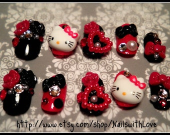Japanese 3D Press on Nail Art - Red Big Hello Kitty with Pearl Hearts