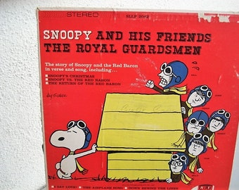 snoopy snoopy record peanuts vinyl royal guardsman kids vinyl charles shultz airplane song christmas lp old time record red baron - Red Baron Christmas Song