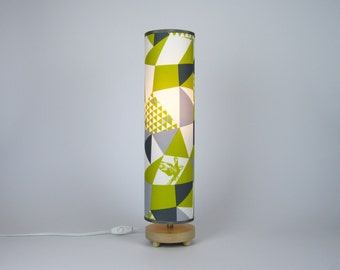 Geometric Triangles Table Lamp in lime and silver