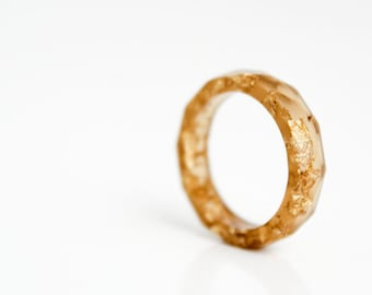 tiger eye geometric size 6.5 thin multifaceted eco resin ring