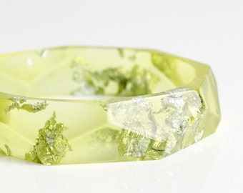 bangle - lemon lime eco resin bangle with silver flakes