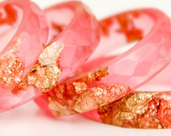 eco resin ring - size 8 thin multifaceted  ring | hot summer pink with copper and gold leaf flakes