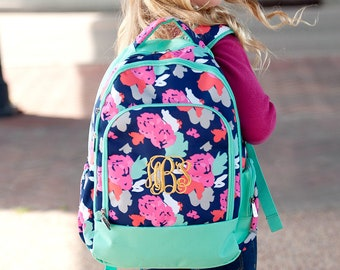 Amelia Floral Backpack- Monogram Backpack- Standard Backpack- Girls Backpack-  Monogrammed Backpack- Back to School- Personalized Backpack 44c87ef5b5
