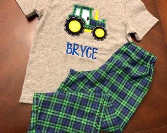 9fc420128e7f Boys Tractor Pajamas- Tractor Pajama Set- Kids Pajamas- Monogrammed Boys  Shirt- Boys Pajamas- Tractor Shirt- Tractor Pants