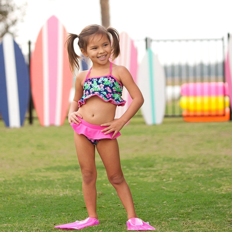 7bd9972500 Girls Monogrammed Swimsuit Girls Floral Swimsuit Set | Etsy