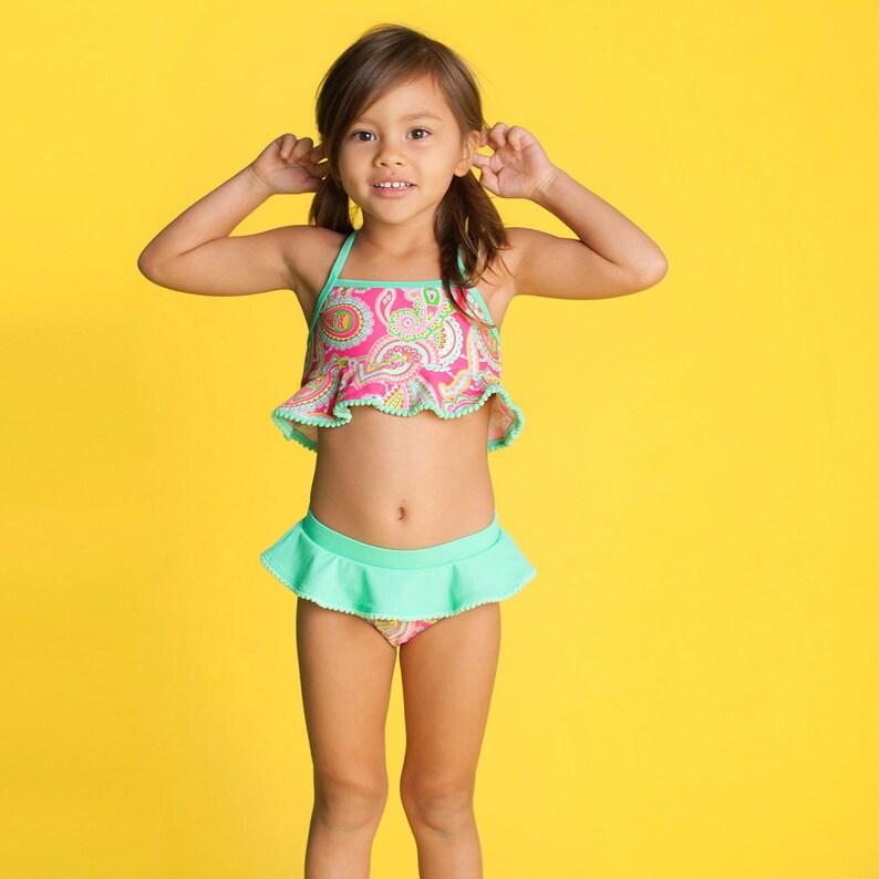 51a92c8388 Monogrammed Girls Swimsuit Summer Lizzie Girls Swimsuit Set | Etsy