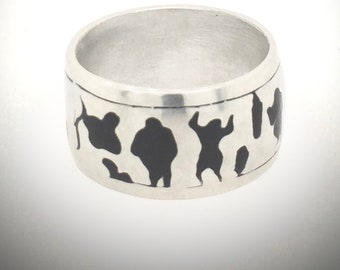 Man's Ring, Masculine, For Him, Silver, Enamel, Primitive figures, Size 10.0