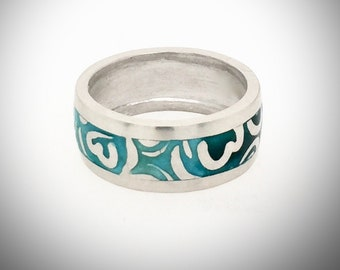 Beautiful Blue-Green Enamel and Silver Ring, Unisex, For Him, For Her, Wedding Ring, Engagement Ring, Birthday Gift, Size 9.5