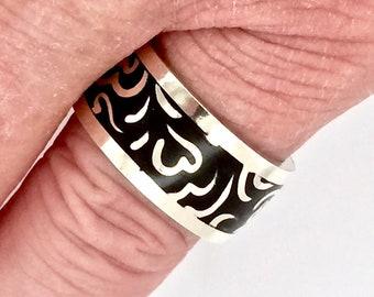 Ring, Sterling Silver, Enamel, Unisex, For Her, For Him, Size 9.5