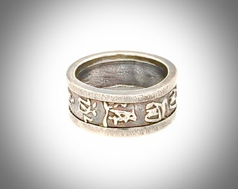 Size : 7 . 5 Anti Tarnished 9 2 5 Sterling Silver Luck Chinese Character Men/'s Ring