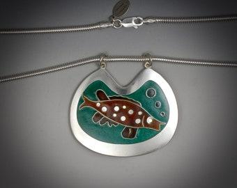 Necklace, Fish Pendant, Cloisonne, Fine Silver, Brown & Blue-Green Enamels, Mirror Finish, Snake Chain, Unisex