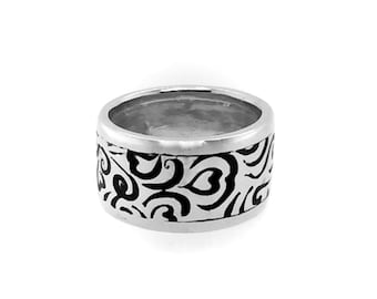 Ring, Statement Ring, Silver, Enamel, Unisex, For Him, For Her, Truly Unique, Size 9.5
