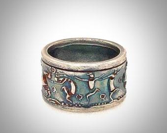 Ring, Handsome, Masculine, Unique, Sterling Silver, Dancing Spirits Design