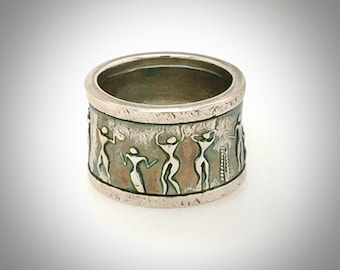 Ring, Handsome, Masculine, Unique, Sterling Silver, Ancient People Design, Statement Ring
