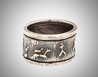 Ring, Handsome, Masculine, Unique, Sterling Silver, Primitive Hunting Scene