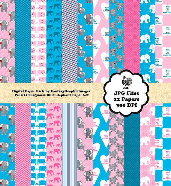 Elephant Scrapbook Paper Cu Digital Pack Pink Turquoise Blue Etsy