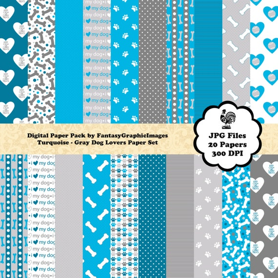 Puppy Dog Scrapbook Paper Cu Digital Pack Turquoise Blue Gray Etsy