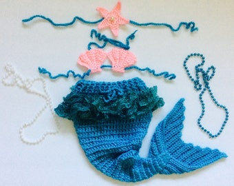 Mermaid Baby set, mermaid costume, 5 piece baby photo prop set, Turquoise/Pink, size Newborn, ready to ship