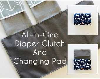 Diaper Clutch with Changing Pad, roll up pad clutch, boy diaper clutch, Deer/Arrow diaper clutch and changing pad