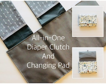 Diaper Clutch with Changing Pad, roll up pad clutch, tribal, feathers, arrows, diaper clutch and changing pad