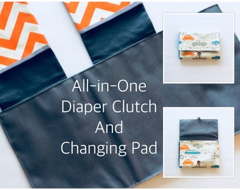 Diaper Clutch with Changing Pad, roll up pad clutch, boy diaper clutch, diaper wallet, retro rides Orange/Gray/Blue, MADE TO ORDER