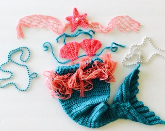 Mermaid Baby set, mermaid costume, 3 piece baby photo prop set, turquoise/coral pink/silver, custom sizes