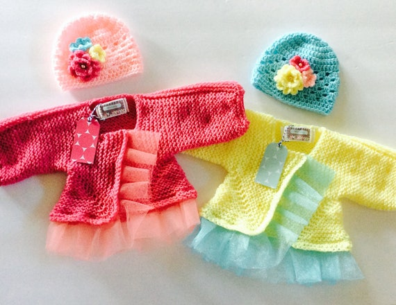 e802d01d21b Twin Baby Cardigan and Hat sets twin baby girls knitted baby