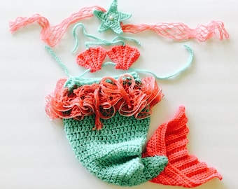 Mermaid Baby set, mermaid costume, 3 piece baby photo prop set, mint green/coral pink/silver, custom sizes