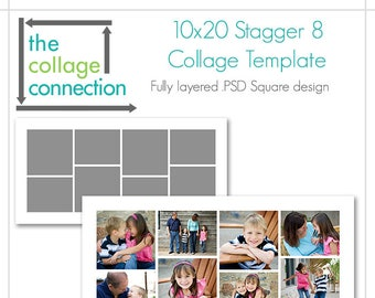 10x20 Stagger  Photoshop Ready Collage Template