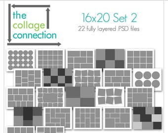 16x20 Collage Templates II - Photoshop Ready Collages